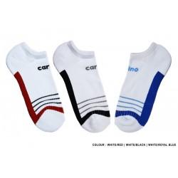 Cotton Spandex No show Socks Sports - WHITE/RED -